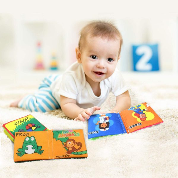 Coolplay 布絵本 赤ちゃん 綺麗なパッケージ付き プレゼントセット 布製 えほん カシャカシャ 数字・形状・カラー・食べ物・職業・動物認識 出産祝い 人気 カラフルセット